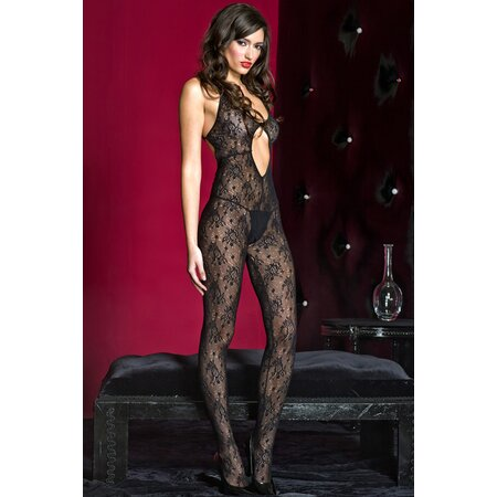 Catsuit Nylon ouvert schwarz in S/L
